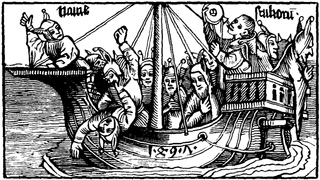 "Dürer's (probably) ""Ship of Fools"" from Brandt's tome of the same name."